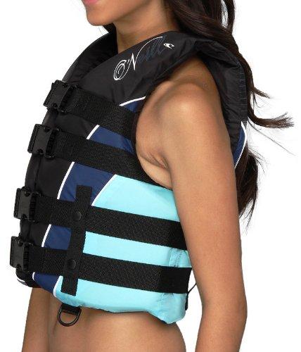 ONeill Womens Superlite USCG Vest Black Turquoise MD 0 2 - O'Neill Women's Superlite USCG Vest, Black Turquoise - MD